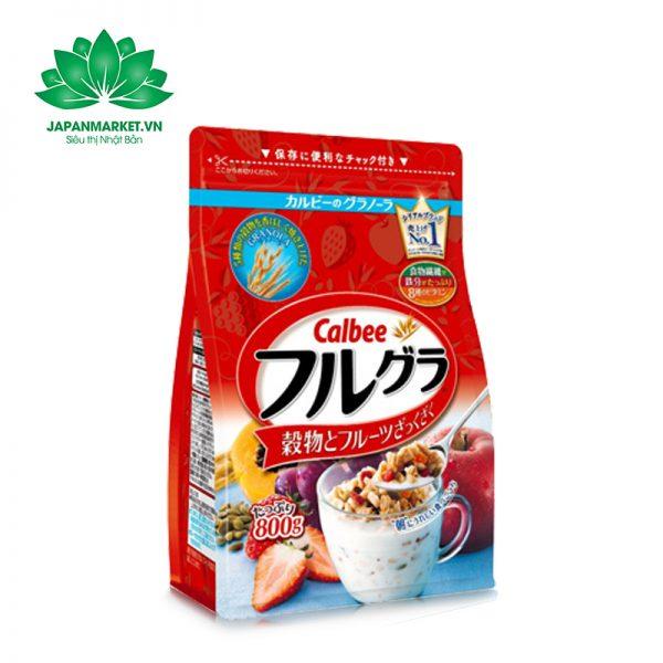 Ngũ cốc trái cây Calbee đỏ 800g Nhật Bản