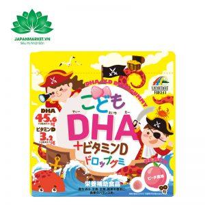 Kẹo Hỗ Trợ Bổ Sung DHA Cho Bé Unimat Riken Của Nhật Bản vị đào